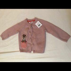 Mini Boden Pink Deer Sweater Cardigan NWT 12-18M